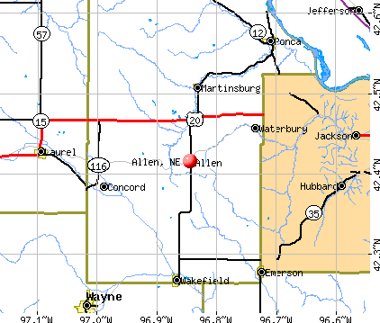 Allen, NE map