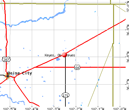 Keyes, OK map