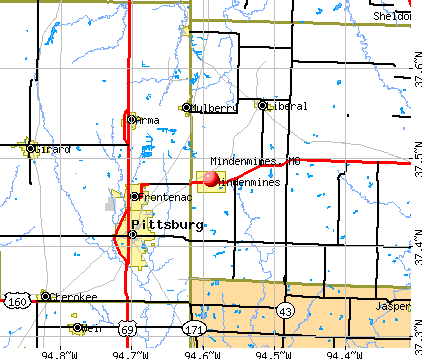Mindenmines, MO map