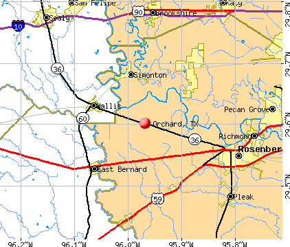 Orchard, TX map