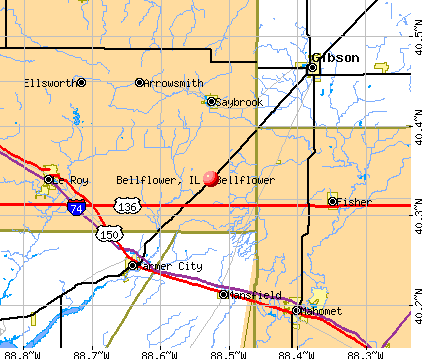 Bellflower, IL map