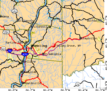 Valley Grove, WV map