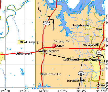 Sadler, TX map