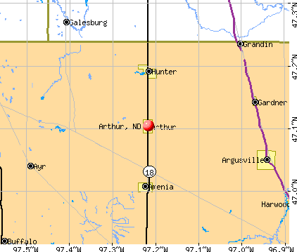 Arthur, ND map