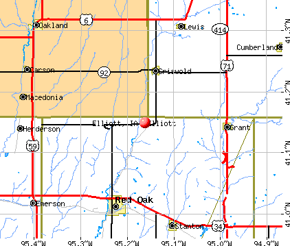 Elliott, IA map