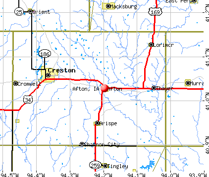 Afton, IA map
