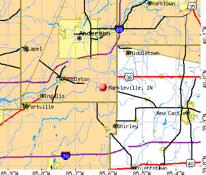 Markleville, IN map
