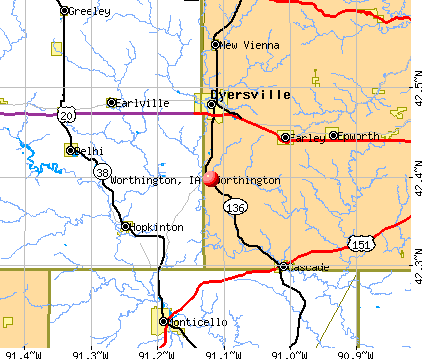 Worthington, IA map