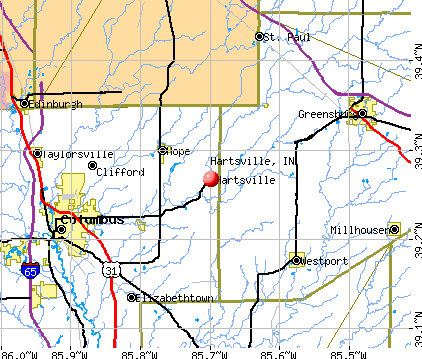Hartsville, IN map
