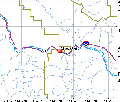 Alberton, MT map