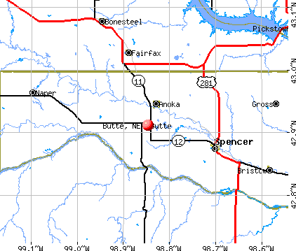 Butte, NE map