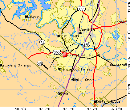 Sunset Valley, TX map