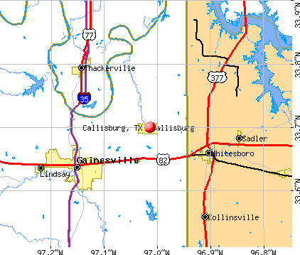 Callisburg, TX map