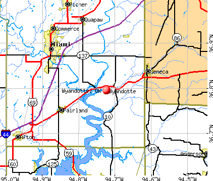 Wyandotte, OK map