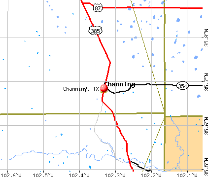 Channing, TX map