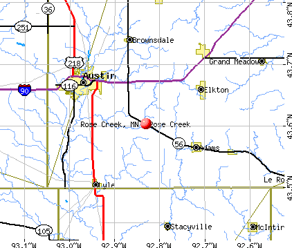 Rose Creek, MN map