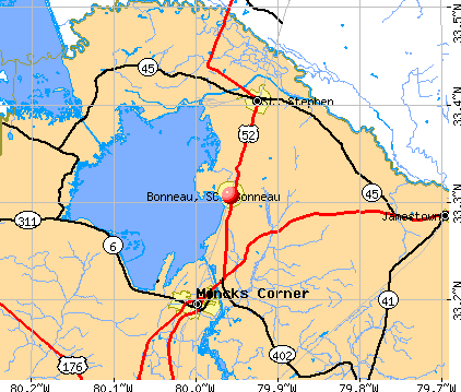 Bonneau, SC map
