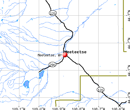 Meeteetse, WY map