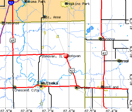 Donovan, IL map