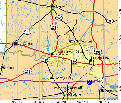 Warren City, TX map