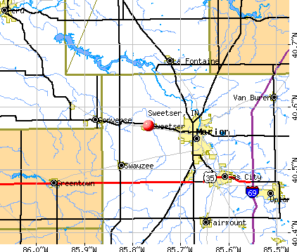 Sweetser, IN map