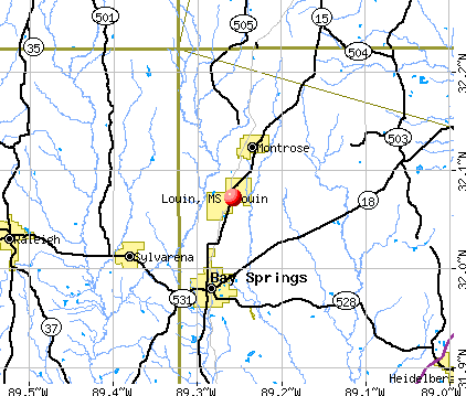 Louin, MS map