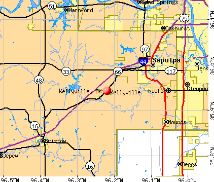 Kellyville, OK map