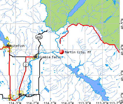 Martin City, MT map