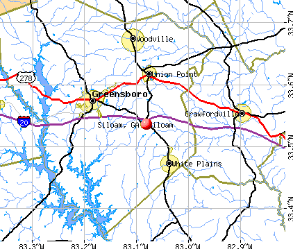 Siloam, GA map