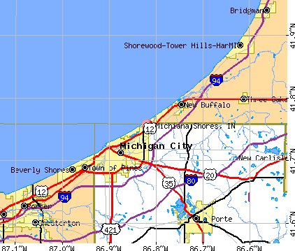 Michiana Shores, IN map