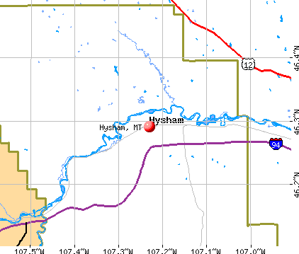 Hysham, MT map