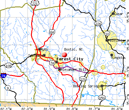 Bostic, NC map