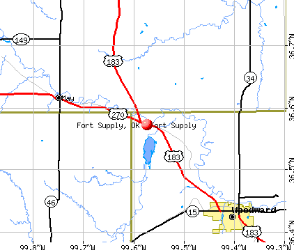 Fort Supply, OK map