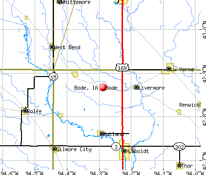 Bode, IA map