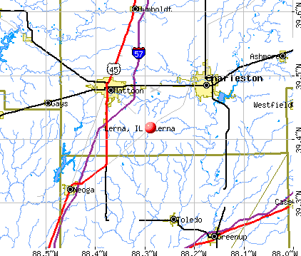 Lerna, IL map
