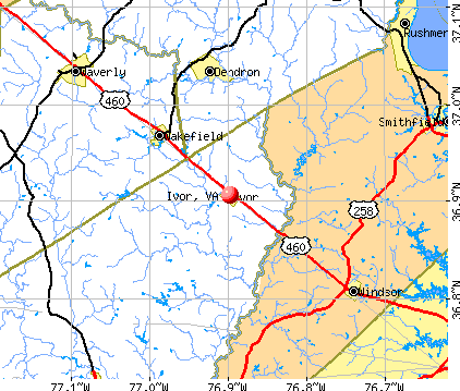 Ivor, VA map