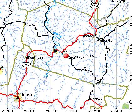 Hendricks, WV map