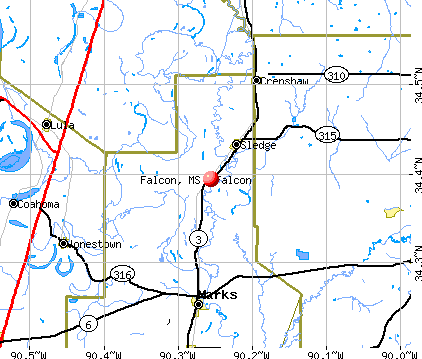 Falcon, MS map