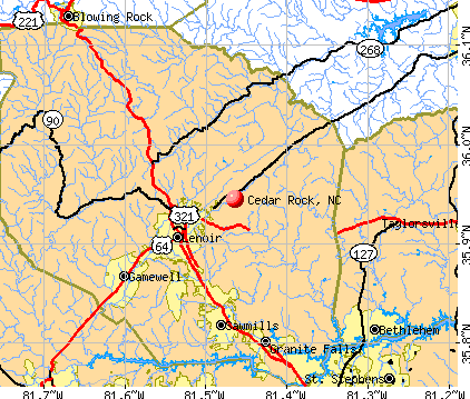 Cedar Rock, NC map
