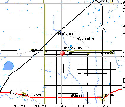 Bushton, KS map