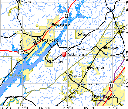 Dutton, AL map