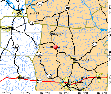 Vanleer, TN map