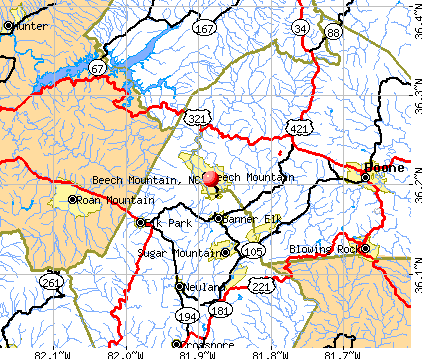 Beech Mountain, NC map