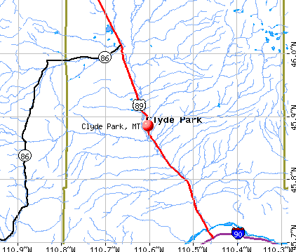 Clyde Park, MT map