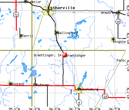 Graettinger, IA map