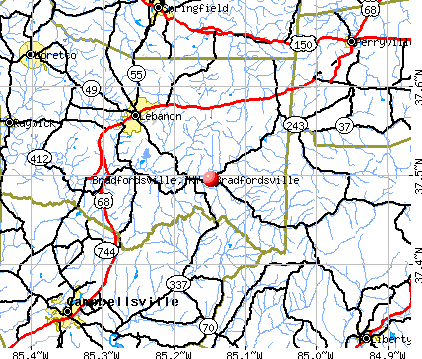 Bradfordsville, KY map