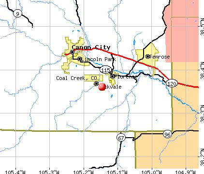 Coal Creek, CO map
