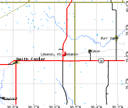 Lebanon, KS map