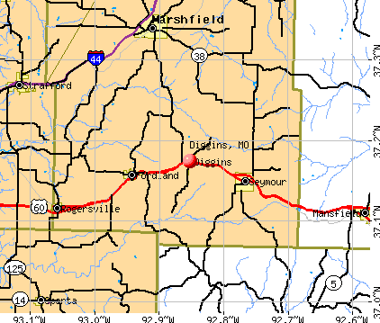 Diggins, MO map