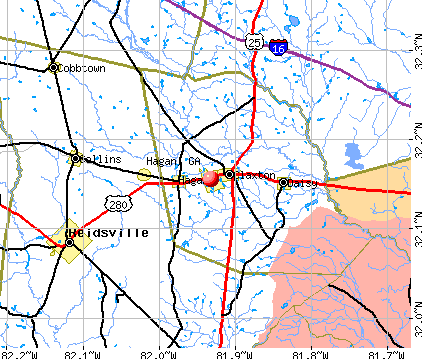 Hagan, GA map